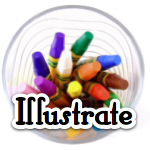 "Cup of crayons with the word ""Illustrate"""