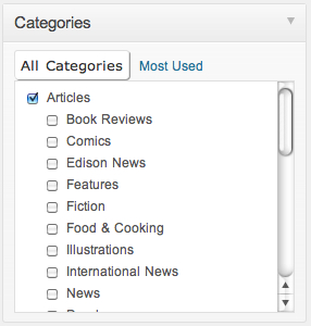Categories window
