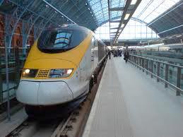 Yellow Eurostar train in station