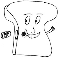 Cartoon bread slice with smiling face