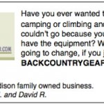 Ad for Backcountrygear.com by Caden and David