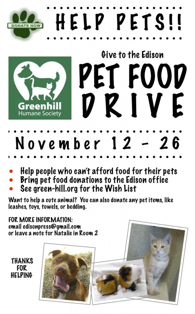 Pet Food Drive, Nov 12-16