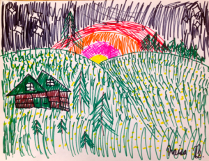 a marker drawing of a field of daisies against the early sunrise, with hills, trees and a house.