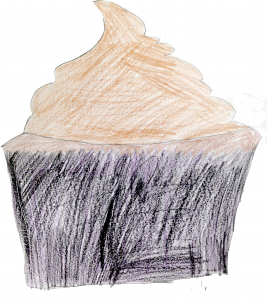 cupcake drawn with colored pencils